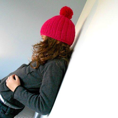 chouette bonnet rose au crochet
