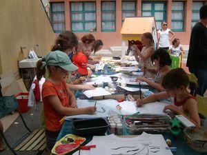 Atelier décor tee-shirts Rencontres Eco-citoyennes Mérindol 2010