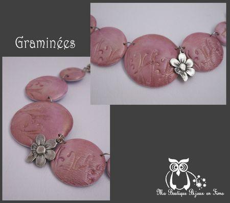 Graminées rose or collier lentille 2