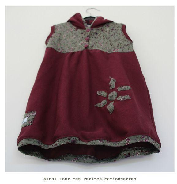 robe capuche violette fleur verte maelenn 1