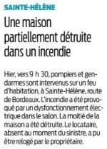 2017 03 08 SO Sainte-Hélène Une maison partiellement détruite par le feu