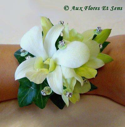 Bracelet de Mariée ou Demoiselle d'Honneur Dendrobium & Strass