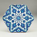 Iznik blue and white hexagonal tile, turkey, circa 1540-45