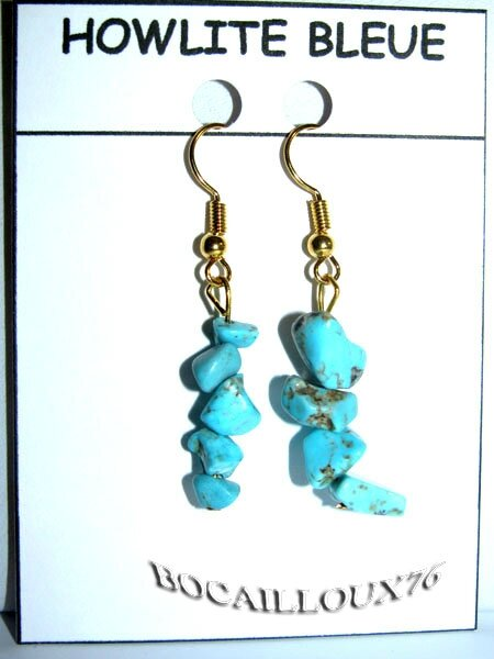 BOUCLE-OREILLE HOWLITE TURQUOISE 2