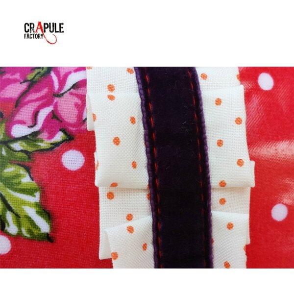 trousse de toilette originale retro toile enduite rouge à pois et fleur - froufrou chic et décalé ! Collection : MARTA CrApule FActOry