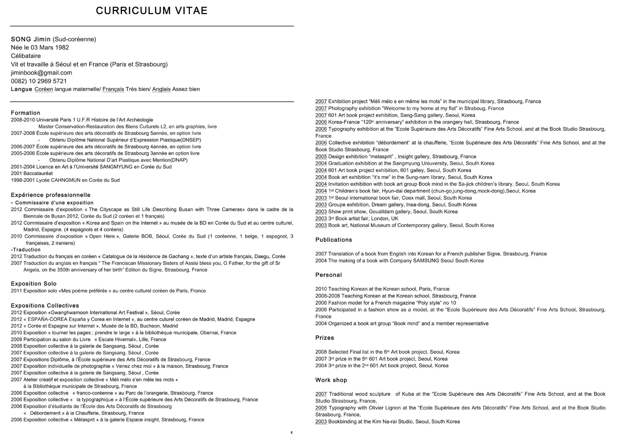 cv french-english