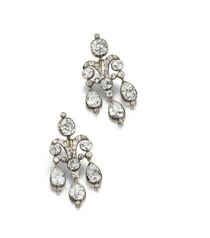 A pair of early 19th century girandole earrings