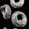 Pair of lovely champa silver earrings. circa 3rd to 7th century a.d. vietnam