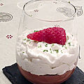 Spécial st valentin mousse au chocolat chantilly noix de coco et insert coulant fruits rouges.