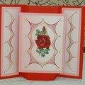 carte brodée rose ouverte