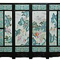 Important antique large Chinese four-panel famille rose porcelain screen, 19th century