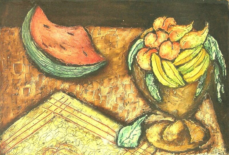 TELLA Nature morte aux fruits 1958 44,5 x 64,5
