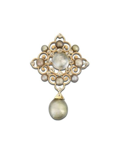 A natural pearl and diamond brooch-pendant
