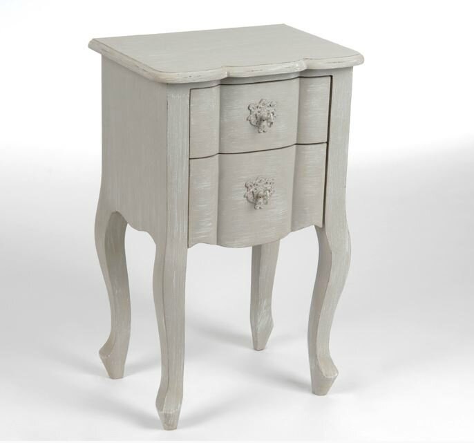 Table de chevet romantique - Table de chevet bois blanc ...