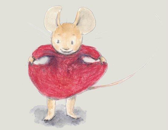 souris robe rouge
