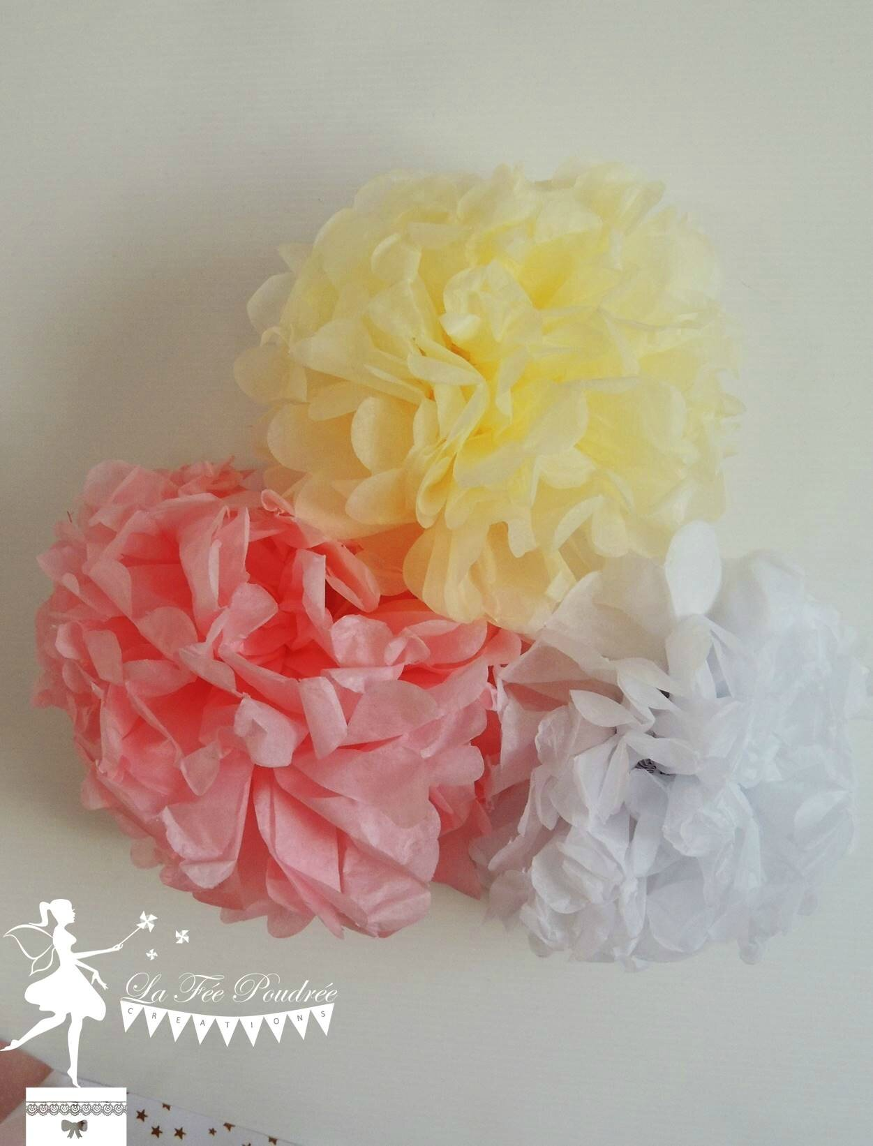 decoration mariage bapteme baby shower pompon ivoire rose blanc3