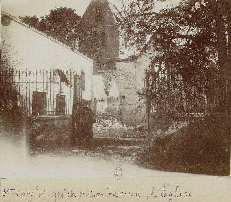 Saint_Thierry__Marne__octobre_1914__Maison_Gavreau_l__glise__Album_Mangin_