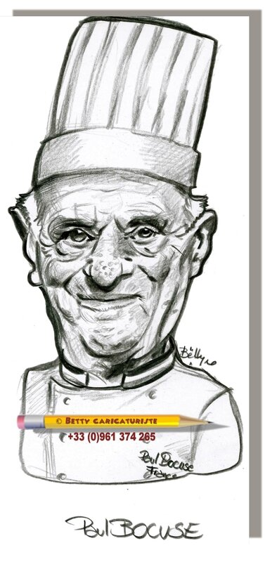 Caricature French Cuisinier famous cook Lyon BOCUSE Paul