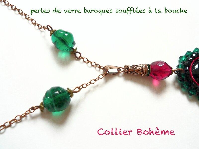 Collier Onyx brodé bohème 7'