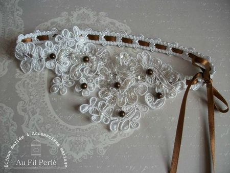 jarretière mariage dentelle ruban perles chocolat