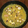 Riz et tentacules de calamar au curry