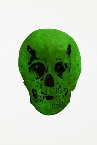 Damien Hirst, The Dead Lime Green Racing Green Skull , 2009
