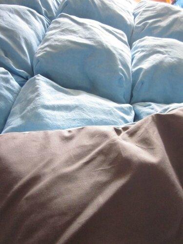 EDREDEON 20 coussins en drap ancien tenté bleu piscine doublé de coton gris moyen (1)