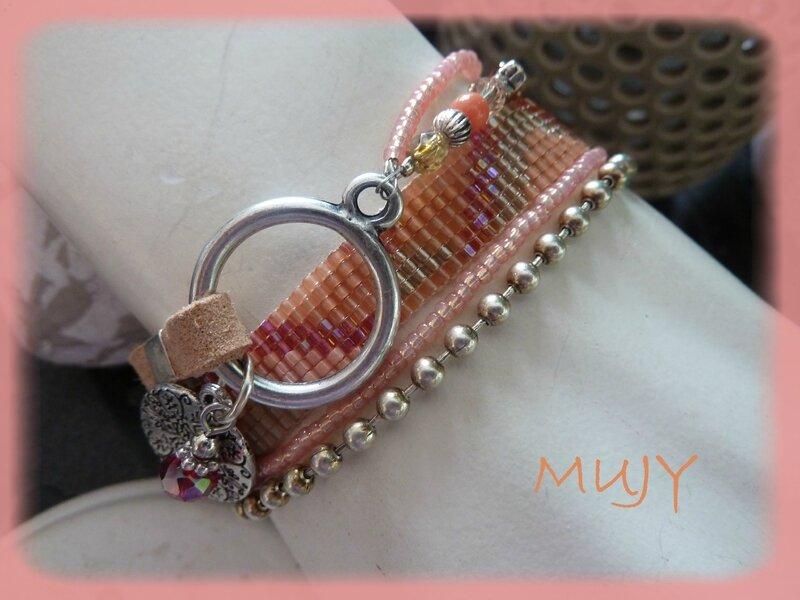 bracelet perles tissées saumon