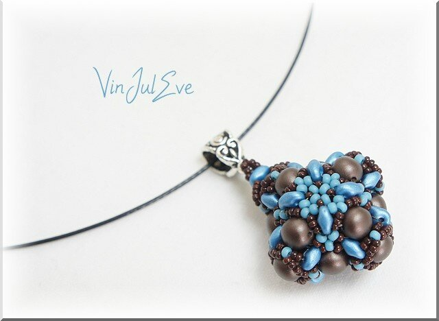 collier Sabac marron turquoise