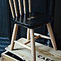 chaise enfant écolier bois peinte en noir