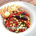 Salsa de légumes d'été aux olives, crevettes à la mayonnaise au citron