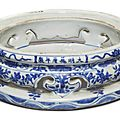 A blue and white openwork 'Baxijiang' stand, Wanli mark and period (1573-1620)