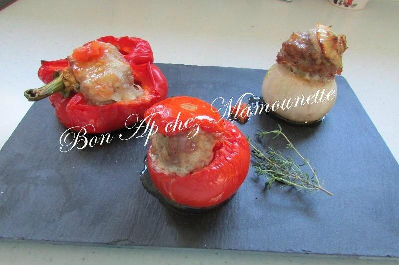 oignons rosé, poivron, tomates Bretagne, farcis à la chair mixte 014