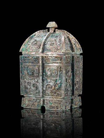An_important_and_rare_archaic_bronze_wine_vessel_and_cover__fangyi1