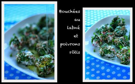 Bouchees au labne et poivrons rotis