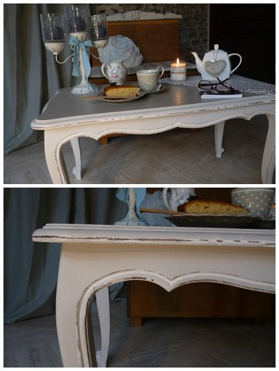 Table basse ancienne gris lapin - Relooker une table de salon ...
