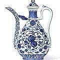 A ming-style blue and white ewer and a cover, seal mark and period of qianlong