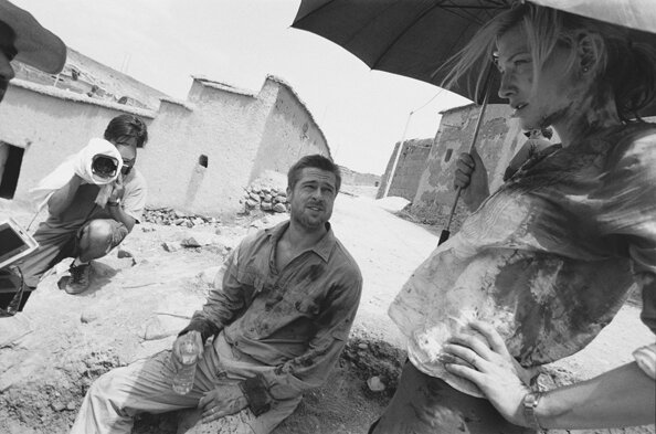 Brad Pitt and Cate Blanchett on the Set of Babel Village Near Ouarazazate Morocco 2005