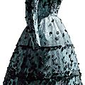 Balenciaga. Dress in blue rayon satin and machine-made black silk lace, with smooth velvet appliqus and chenille embroidery