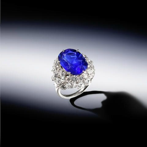 A sapphire and diamond ring, French