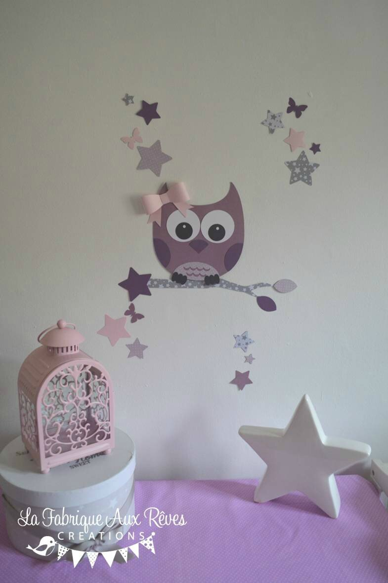 Stickers d coration chambre enfant fille b b hibou chouette toiles rose poudr gris parme for Decoration chambre bebe hibou