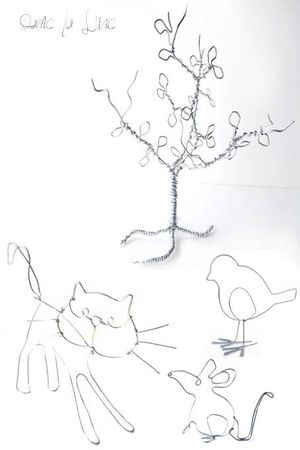 fil de fer_creation_arbre_chat_ souris_oiseau_dame_la_lune_figurine