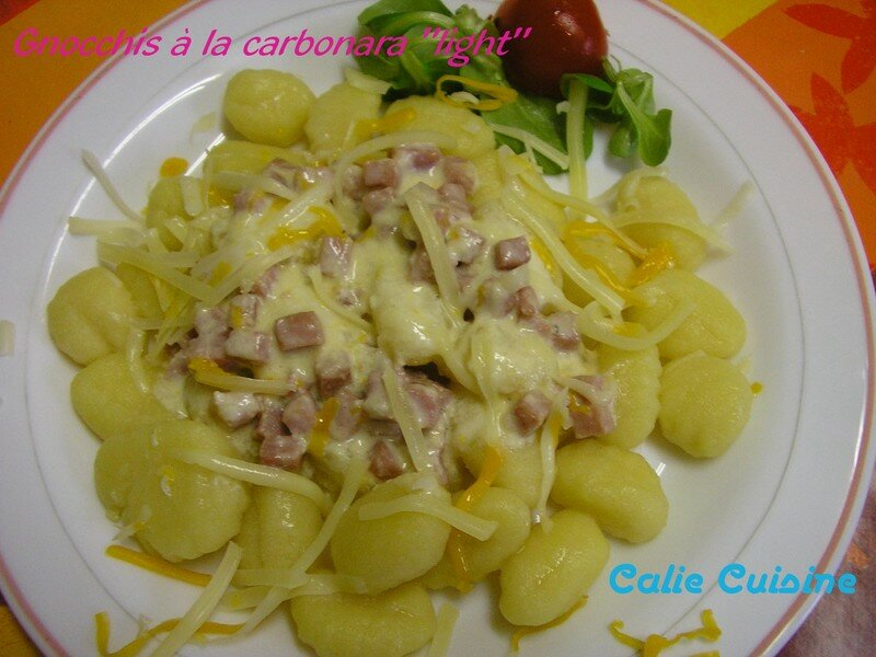 Gnocchis la carbonara light la cuisine de calie for La cuisine simplissime light