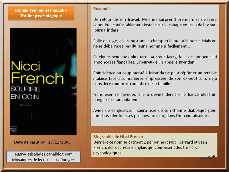 Nicci French sourire en coin