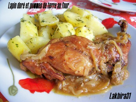 lapin doré et pommes de terre au four. - toute la cuisine que j'aime