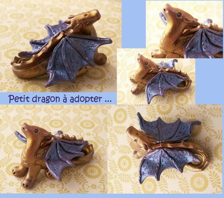 Dragon bleu et or