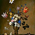 Balthasar van der ast, still life with flowers, shells, butterflies and grasshopper, 1640-50