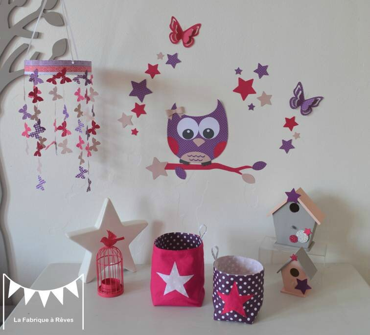 D coration chambre enfant b b fille rose fuchsia violet rose poudr hibou toiles papillons 2 for Decoration chambre bebe hibou
