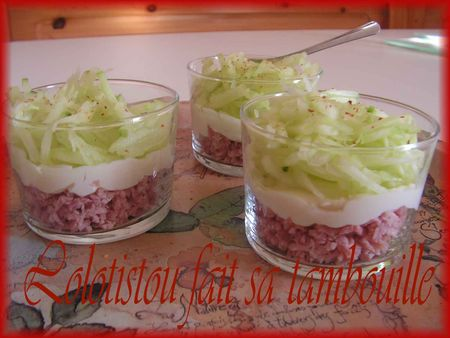 Verrine jambon qui rit face au concombre lolotistou for Entree vite faite simple