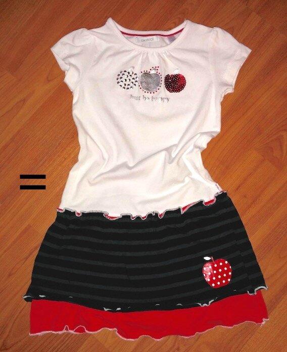 Tee-shirt pomme transformé en robe Mimie - copie